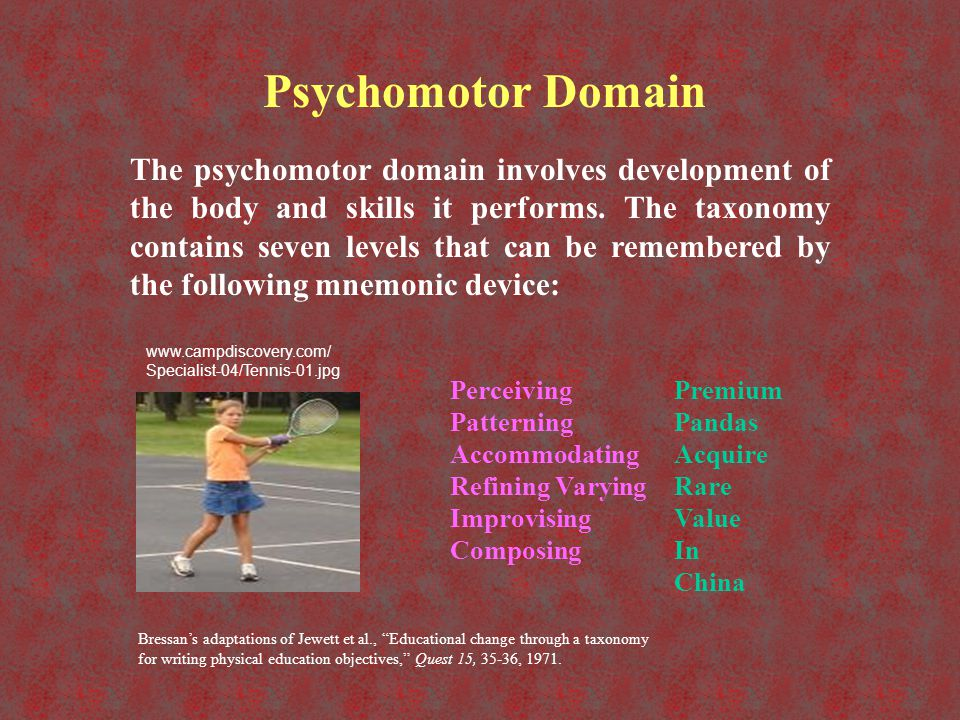 Psychomotor Domain Levels LevelDescriptionVerbsObjective PerceivingRecognizing movement position or pattern.