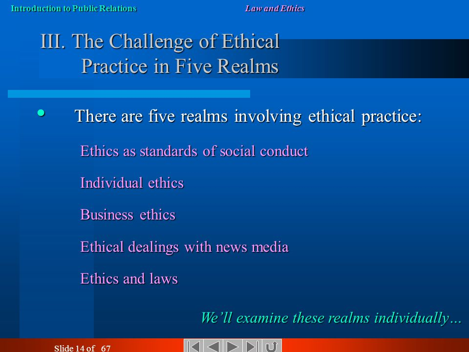 Introduction to Public RelationsLaw and Ethics Slide 13 of 67 A Change in Perceptions of Ethics Click the image to read about changes in how business