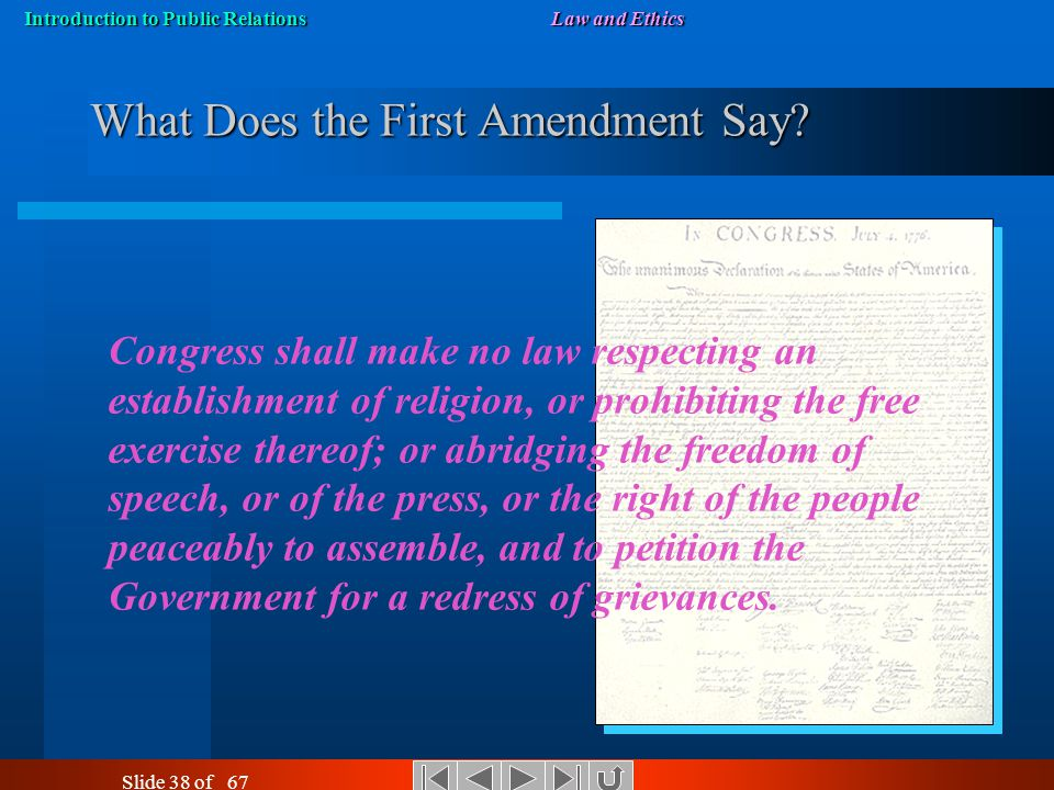 Introduction to Public RelationsLaw and Ethics Slide 37 of 67 First Amendment Rights and Limits First Amendment to the U.S. Constitution protects indi