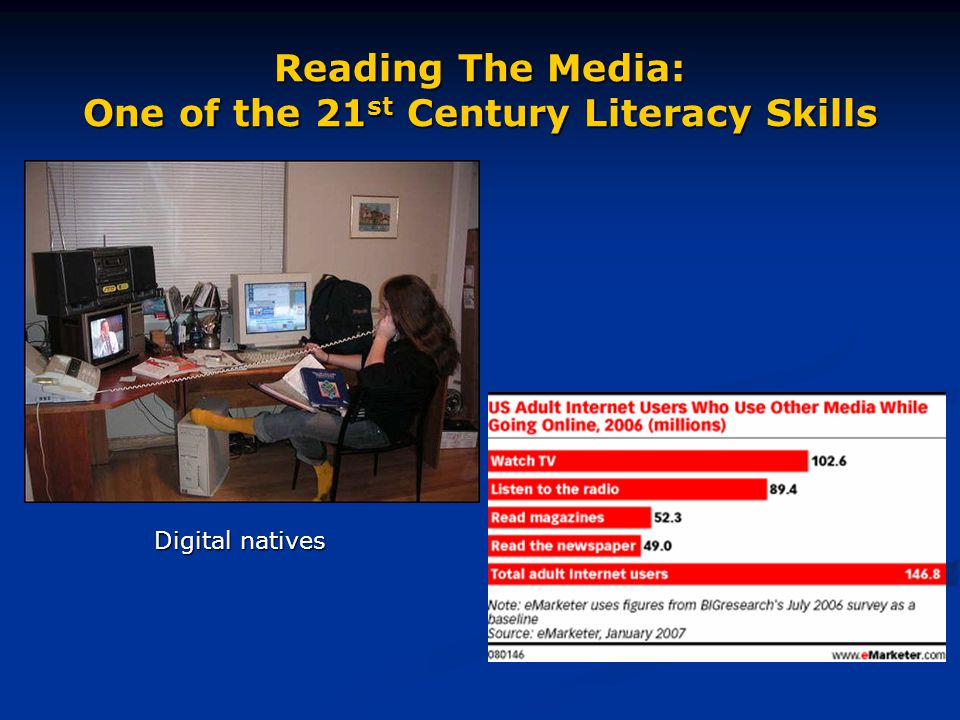 Reading The Media: One of the 21 st Century Literacy Skills Our students are growing up in a world saturated with media messages…yet, they (and their teachers) receive little or no training in the skills of analyzing or re- evaluating these messages, many of which make use of language, moving images, music, sound effects. Source: R.
