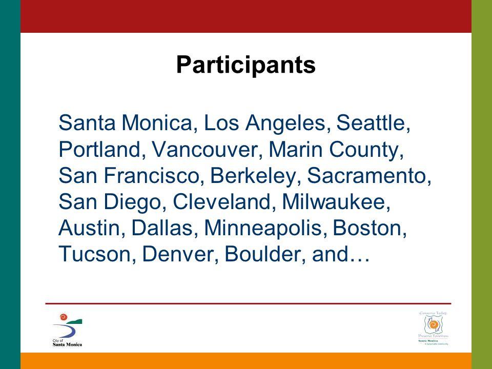 Participants Santa Monica, Los Angeles, Seattle, Portland, Vancouver, Marin County, San Francisco, Berkeley, Sacramento, San Diego, Cleveland, Milwaukee, Austin, Dallas, Minneapolis, Boston, Tucson, Denver, Boulder, and…