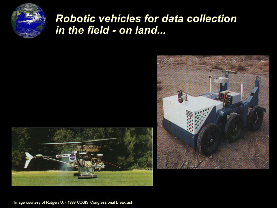 Robotic vehicles for data collection in the field - on land...
