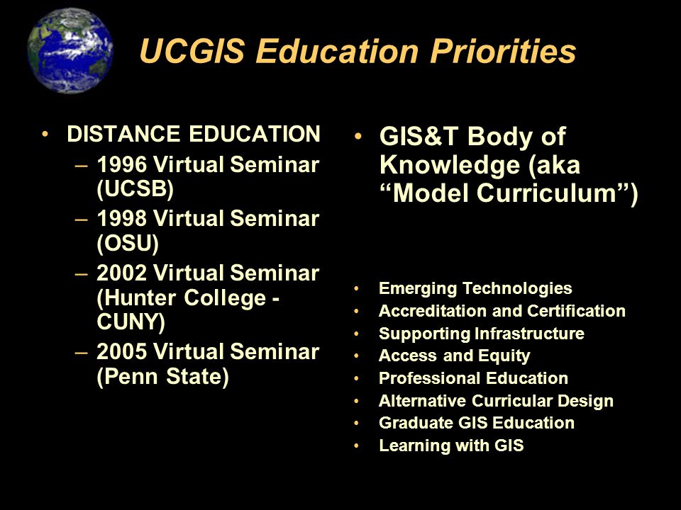 UCGIS Education Priorities DISTANCE EDUCATION –1996 Virtual Seminar (UCSB) –1998 Virtual Seminar (OSU) –2002 Virtual Seminar (Hunter College - CUNY) –2005 Virtual Seminar (Penn State) GIS&T Body of Knowledge (aka Model Curriculum ) Emerging Technologies Accreditation and Certification Supporting Infrastructure Access and Equity Professional Education Alternative Curricular Design Graduate GIS Education Learning with GIS
