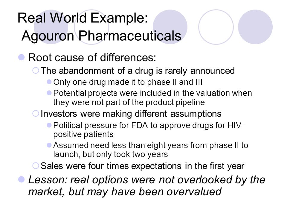 Real World Example: Agouron Pharmaceuticals Root cause of differences:  The abandonment of a drug is rarely announced Only one drug made it to phase