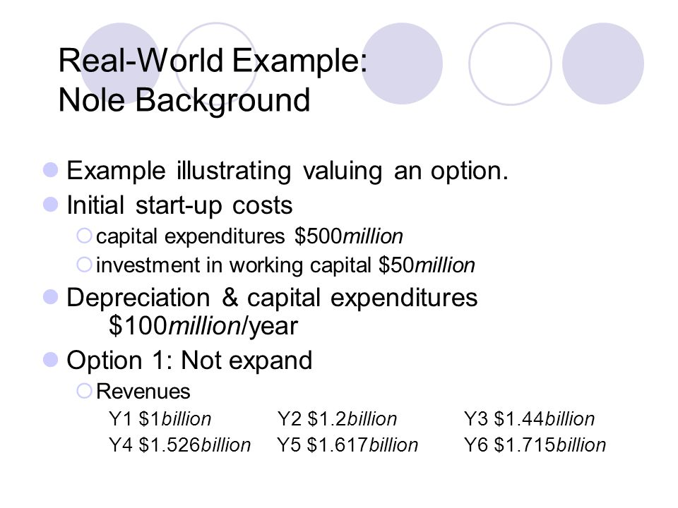 Real-World Example: Nole Background Example illustrating valuing an option.