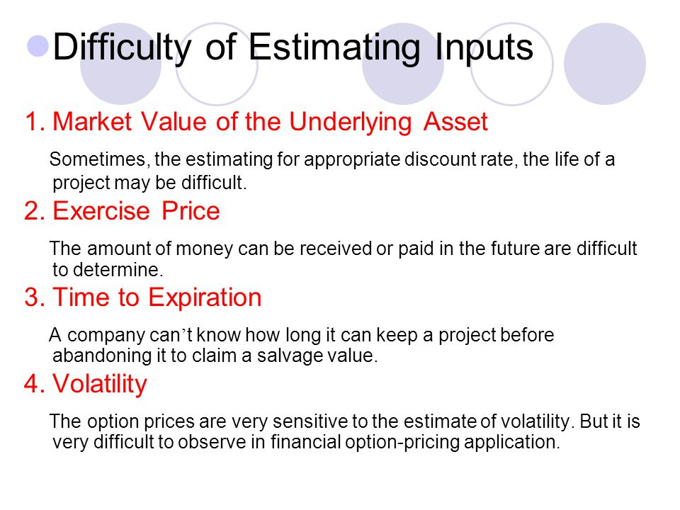 Difficulty of Estimating Inputs 1.Market Value of the Underlying Asset Sometimes, the estimating for appropriate discount rate, the life of a project may be difficult.