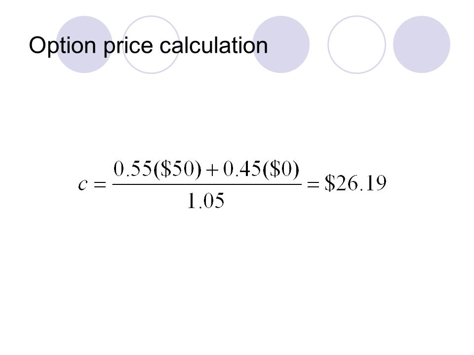 Option price calculation