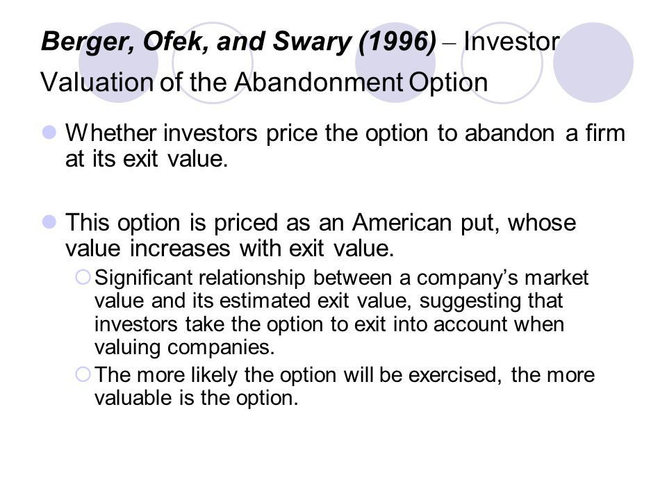 Berger, Ofek, and Swary (1996) – Investor Valuation of the Abandonment Option Whether investors price the option to abandon a firm at its exit value.
