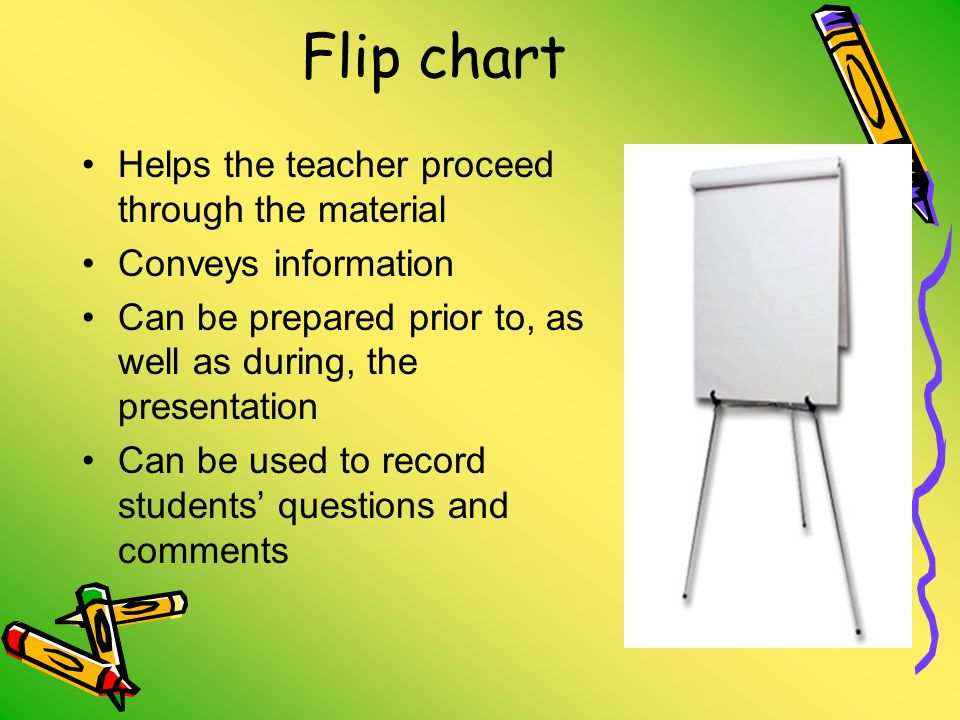 Flip chart Helps the teacher proceed through the material Conveys information Can be prepared prior to, as well as during, the presentation Can be used to record students' questions and comments