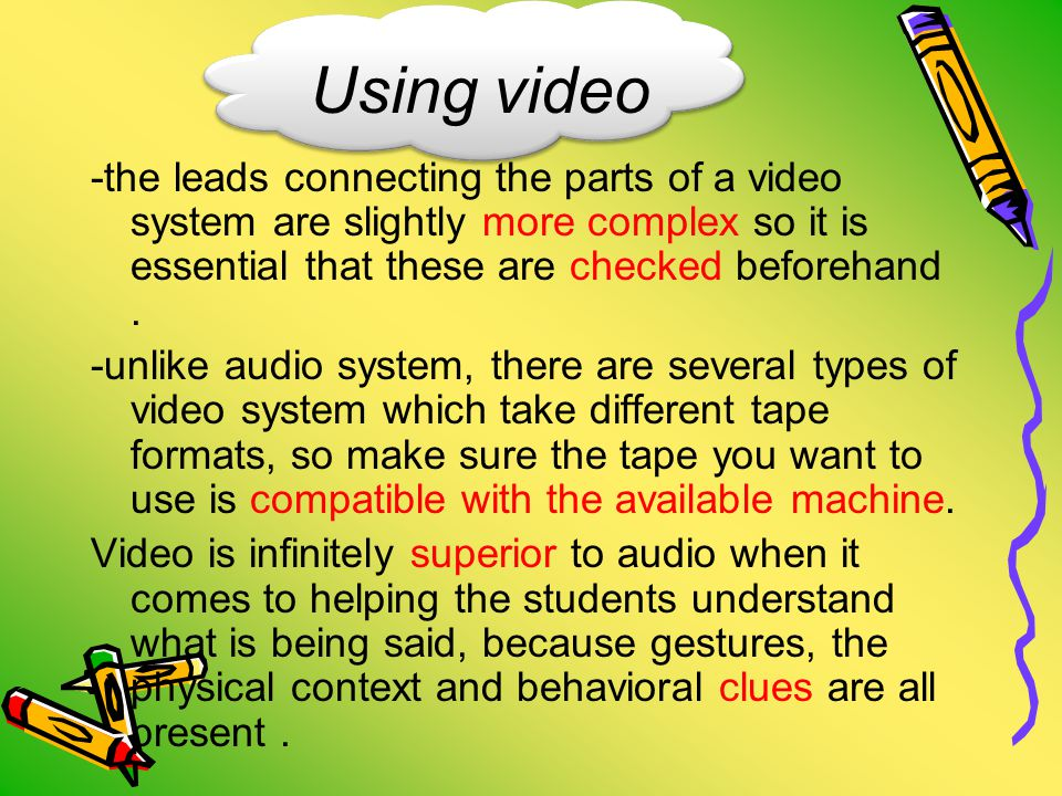 Using video -the leads connecting the parts of a video system are slightly more complex so it is essential that these are checked beforehand.