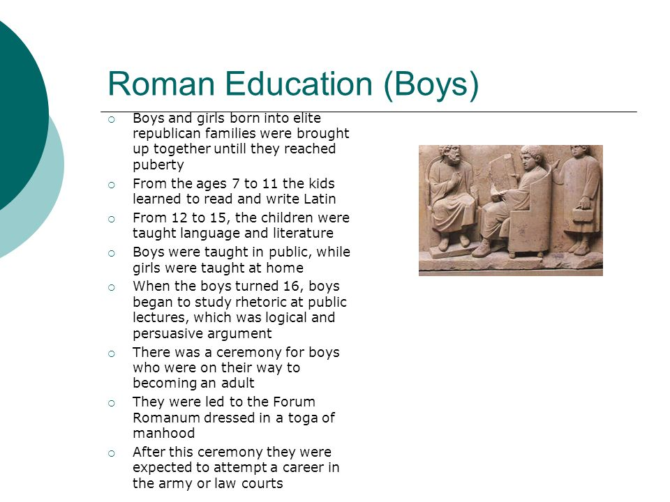 Roman Education (Boys)  Boys and girls born into elite republican families were brought up together untill they reached puberty  From the ages 7 to