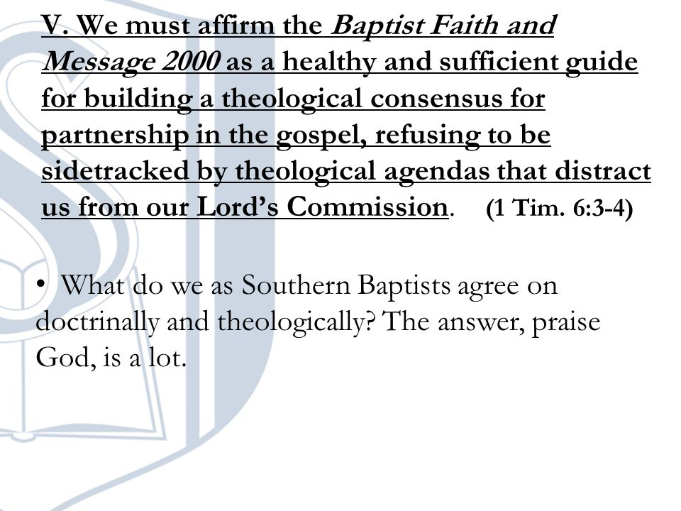 What do we as Southern Baptists agree on doctrinally and theologically.