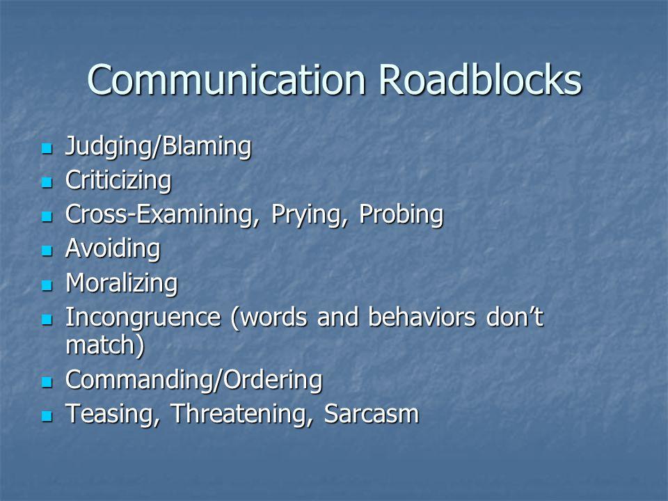 Communication Roadblocks Judging/Blaming Judging/Blaming Criticizing Criticizing Cross-Examining, Prying, Probing Cross-Examining, Prying, Probing Avo