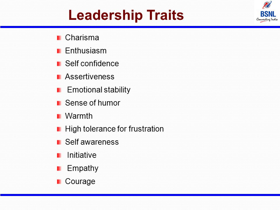 Leadership Traits Charisma Enthusiasm Self confidence Assertiveness Emotional stability Sense of humor Warmth High tolerance for frustration Self awar