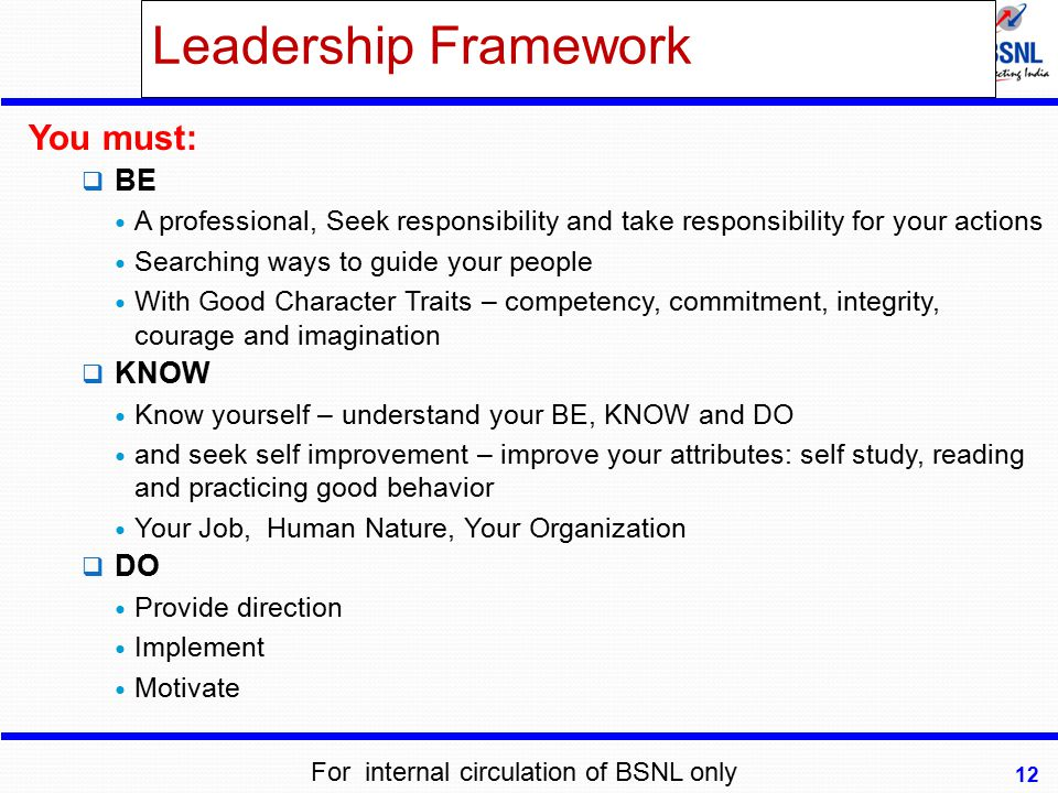 Leadership Framework You must:  BE A professional, Seek responsibility and take responsibility for your actions Searching ways to guide your people W