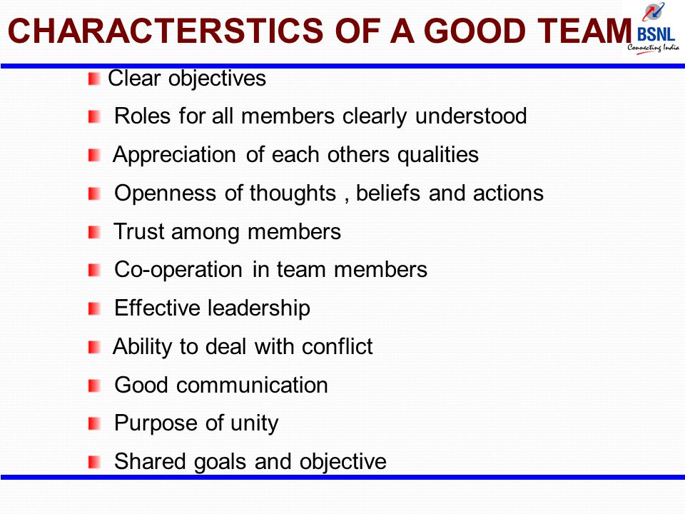 CHARACTERSTICS OF A GOOD TEAM Clear objectives Roles for all members clearly understood Appreciation of each others qualities Openness of thoughts, be