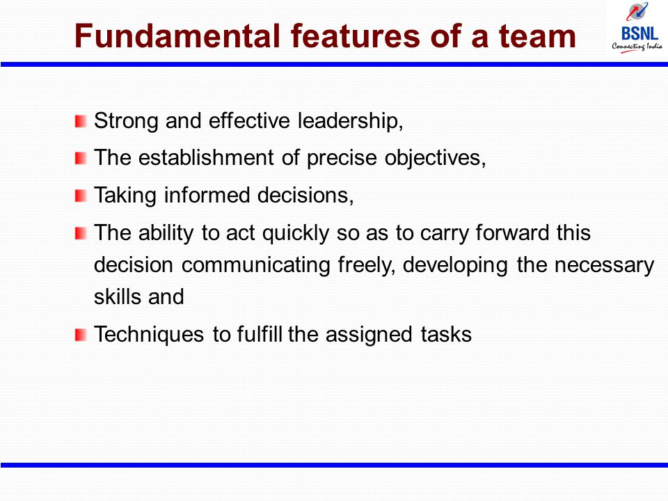Fundamental features of a team Strong and effective leadership, The establishment of precise objectives, Taking informed decisions, The ability to act