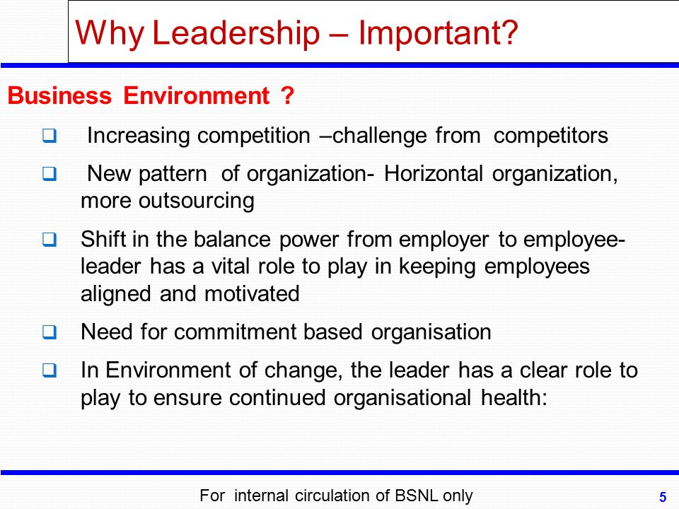 Why Leadership – Important? Business Environment ?  Increasing competition –challenge from competitors  New pattern of organization- Horizontal orga