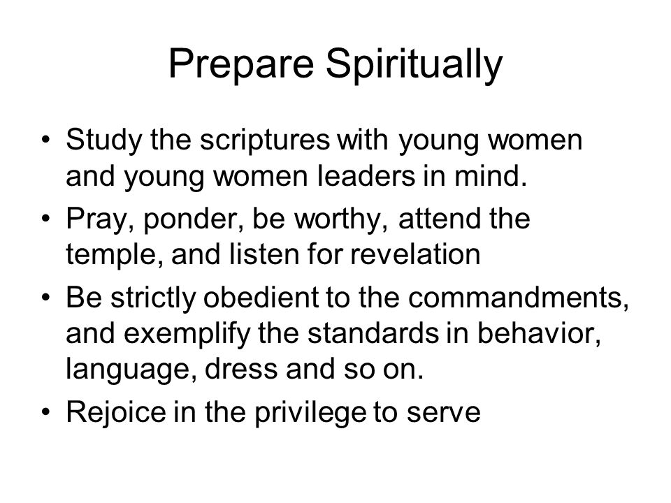 Participate in Councils Represent the needs of ward young women leaders and young women leaders to the stake council Offer observations, concerns, and recommendations for consideration.