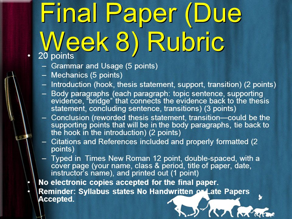 Edited Paper (due Week 7) Rubric 10 points –Grammar and Usage (2.5 points) –Mechanics (2.5 points) –Introduction (hook, thesis statement, support, transition) (1 point) –Body paragraphs (each paragraph: topic sentence, supporting evidence, bridge that connects the evidence back to the thesis statement, concluding sentence, transitions) (1 point) –Conclusion (reworded thesis statement, transition—could be the supporting points that will be in the body paragraphs, tie back to the hook in the introduction) (1 point) –Citations and References included (1 point) –Typed in Times New Roman 12 point, double-spaced, with a cover page (your name, class & period, title of paper, date, instructor's name), and printed out (1 point) Reminder: Syllabus states No Handwritten or Late Papers Accepted.