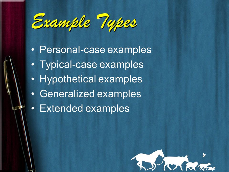 Forms of Examples Specific names (people, places, products) Anecdotes Personal observations Expert opinions (from outside sources, interviews) Facts Statistics Case studies via research