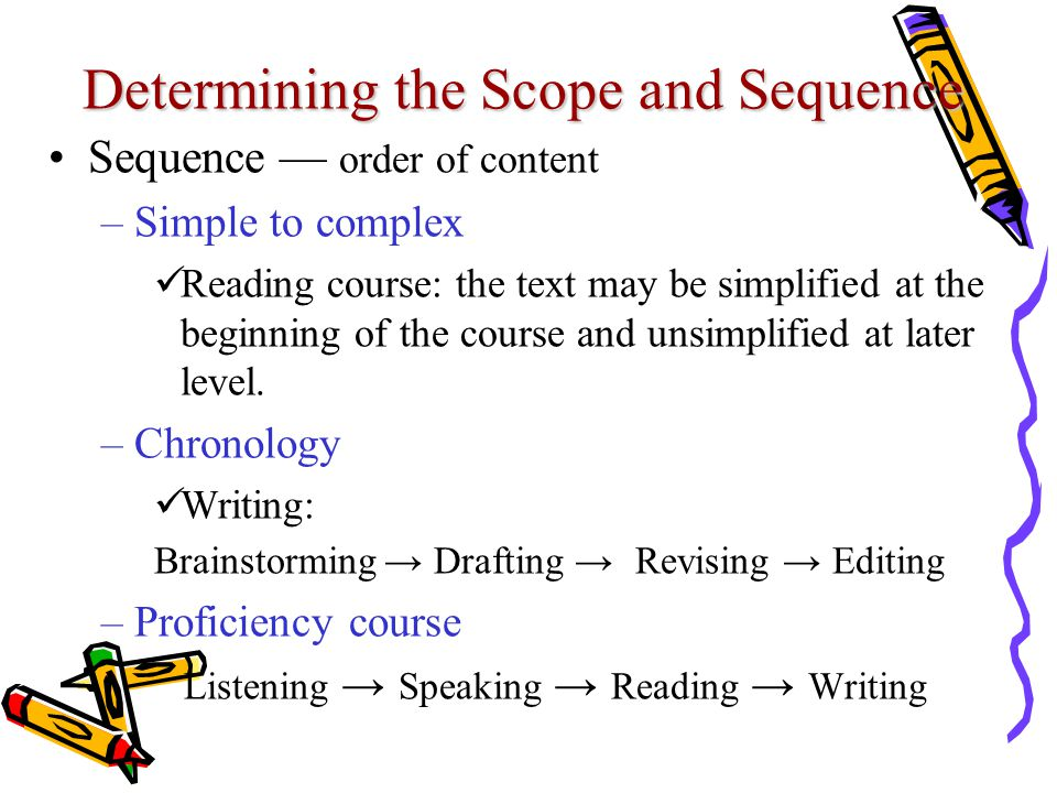Determining the Scope and Sequence Sequence — order of content –Simple to complex Reading course: the text may be simplified at the beginning of the course and unsimplified at later level.