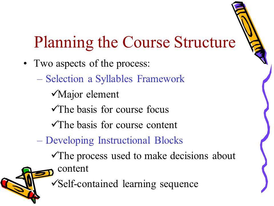 Planning the Course Structure Two aspects of the process: –Selection a Syllables Framework Major element The basis for course focus The basis for course content –Developing Instructional Blocks The process used to make decisions about content Self-contained learning sequence