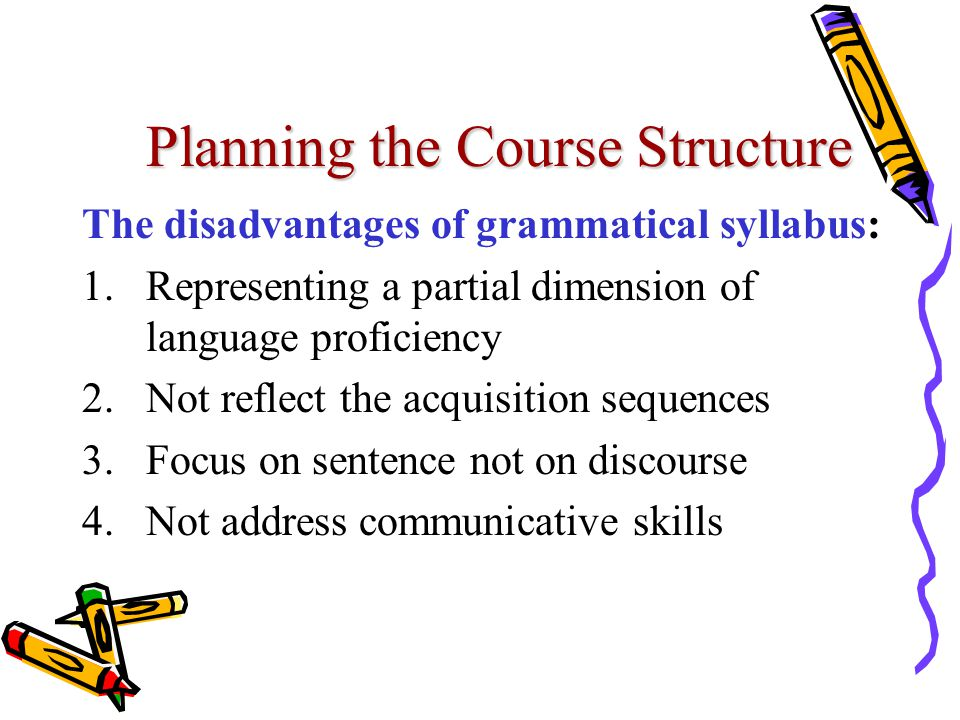 Planning the Course Structure The disadvantages of grammatical syllabus: 1.Representing a partial dimension of language proficiency 2.Not reflect the