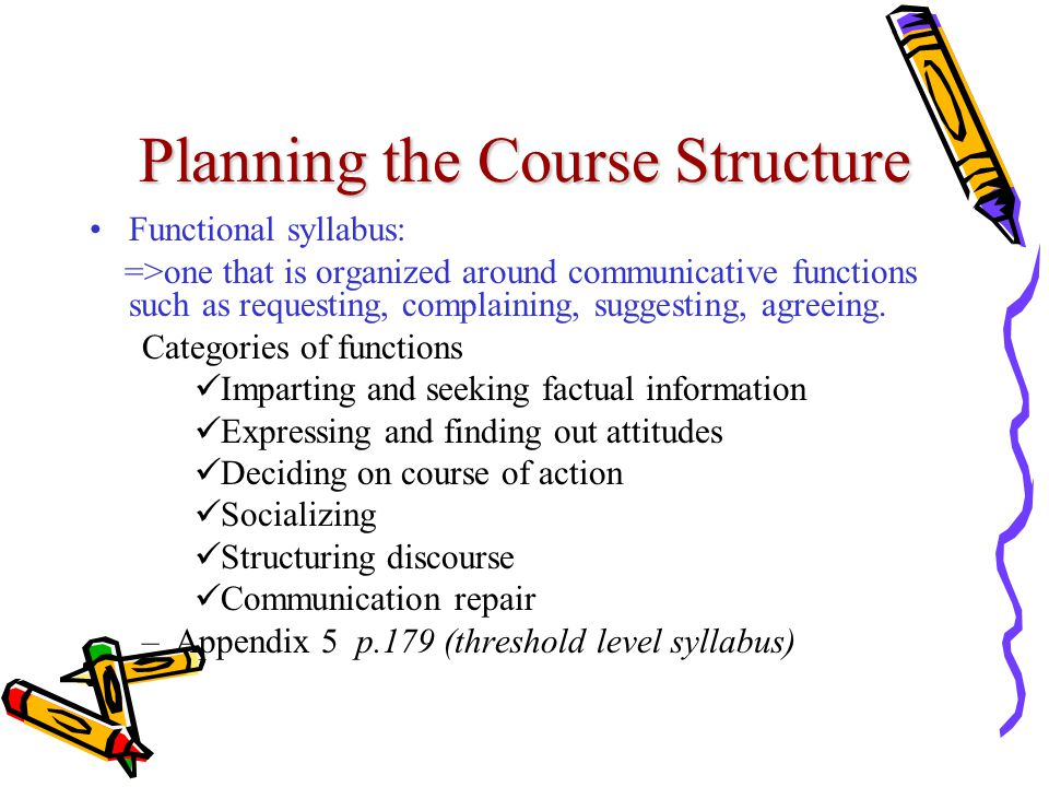 Planning the Course Structure Functional syllabus: =>one that is organized around communicative functions such as requesting, complaining, suggesting,
