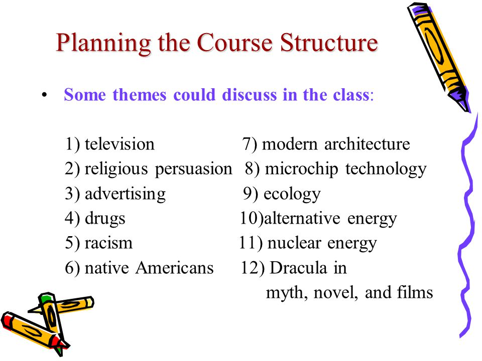 Planning the Course Structure Some themes could discuss in the class: 1) television 7) modern architecture 2) religious persuasion 8) microchip technology 3) advertising 9) ecology 4) drugs 10)alternative energy 5) racism 11) nuclear energy 6) native Americans 12) Dracula in myth, novel, and films