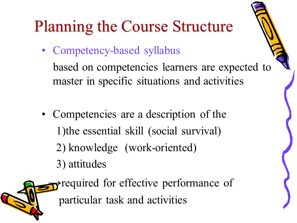 Planning the Course Structure Competency-based syllabus based on competencies learners are expected to master in specific situations and activities Competencies are a description of the 1)the essential skill (social survival) 2) knowledge (work-oriented) 3) attitudes → required for effective performance of particular task and activities
