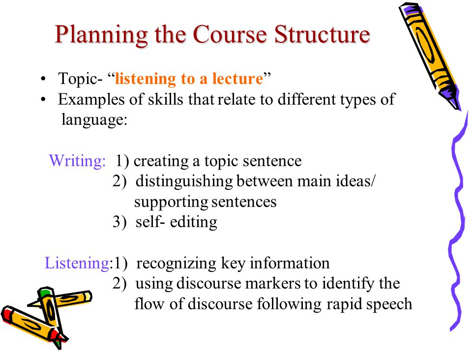 Planning the Course Structure Topic- listening to a lecture Examples of skills that relate to different types of language: Writing: 1) creating a topic sentence 2) distinguishing between main ideas/ supporting sentences 3) self- editing Listening:1) recognizing key information 2) using discourse markers to identify the flow of discourse following rapid speech