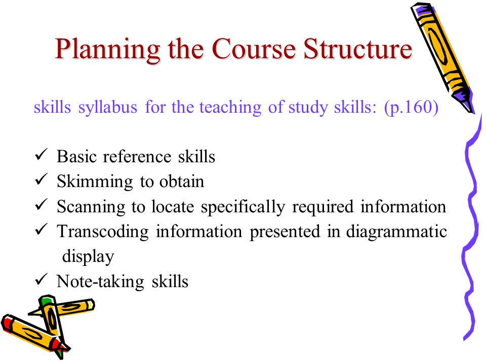 Planning the Course Structure skills syllabus for the teaching of study skills: (p.160) Basic reference skills Skimming to obtain Scanning to locate specifically required information Transcoding information presented in diagrammatic display Note-taking skills