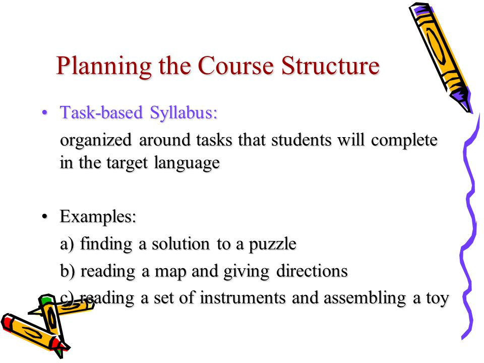 Planning the Course Structure Task-based Syllabus:Task-based Syllabus: organized around tasks that students will complete in the target language organized around tasks that students will complete in the target language Examples:Examples: a) finding a solution to a puzzle a) finding a solution to a puzzle b) reading a map and giving directions b) reading a map and giving directions c) reading a set of instruments and assembling a toy c) reading a set of instruments and assembling a toy
