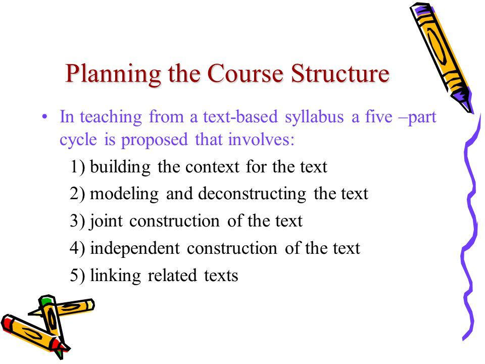 Planning the Course Structure In teaching from a text-based syllabus a five –part cycle is proposed that involves: 1) building the context for the tex