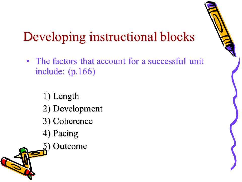 Developing instructional blocks The factors that t for a successful unit include: (p.166)The factors that account for a successful unit include: (p.166) 1) Length 1) Length 2) Development 2) Development 3) Coherence 3) Coherence 4) Pacing 4) Pacing 5) Outcome 5) Outcome