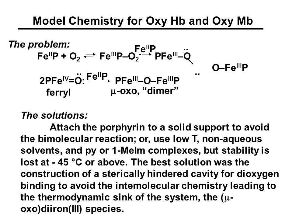 Synthetic Models for OxyHb and OxyMb (Collman)(Baldwin)