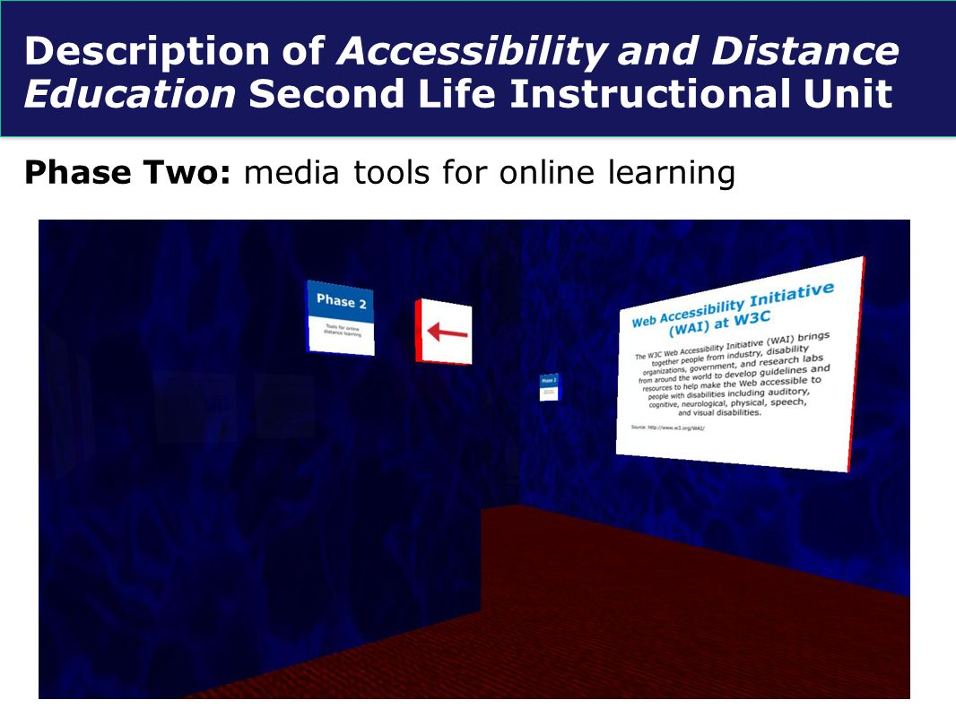 Description of Accessibility and Distance Education Second Life Instructional Unit Phase Three: digital tools for multi-user virtual environments (MUVE).