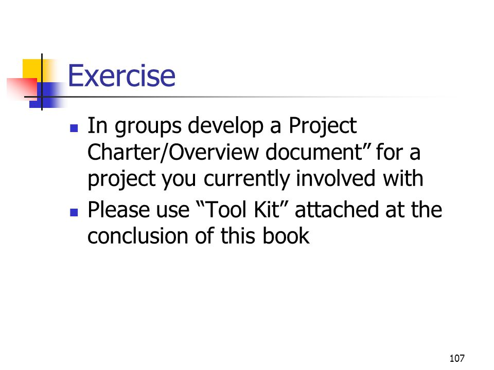 107 Exercise In groups develop a Project Charter/Overview document for a project you currently involved with Please use Tool Kit attached at the conclusion of this book