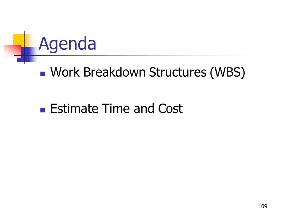 109 Agenda Work Breakdown Structures (WBS) Estimate Time and Cost