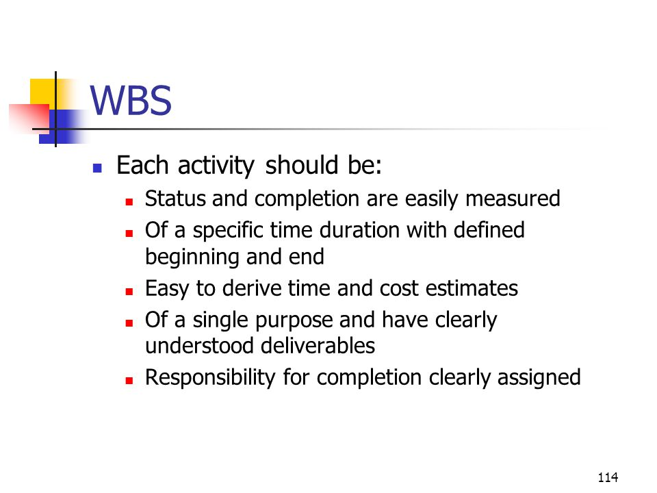 114 WBS Each activity should be: Status and completion are easily measured Of a specific time duration with defined beginning and end Easy to derive time and cost estimates Of a single purpose and have clearly understood deliverables Responsibility for completion clearly assigned