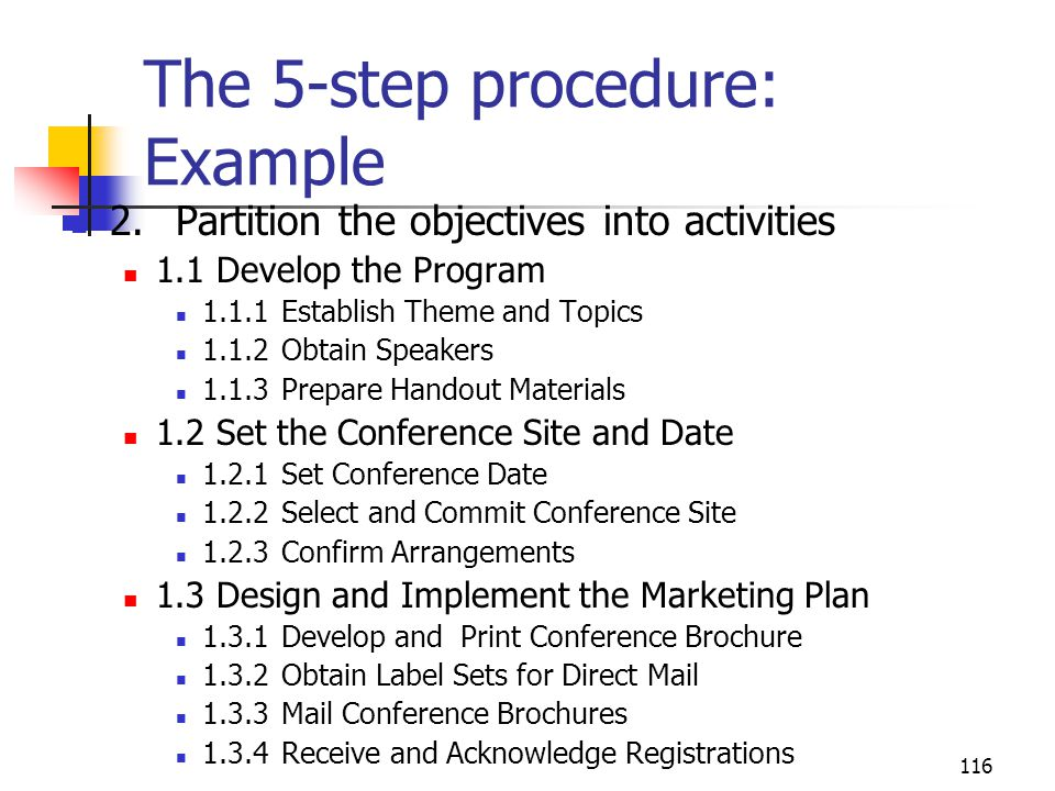 116 The 5-step procedure: Example 2.Partition the objectives into activities 1.1 Develop the Program 1.1.1Establish Theme and Topics 1.1.2Obtain Speakers 1.1.3Prepare Handout Materials 1.2 Set the Conference Site and Date 1.2.1Set Conference Date 1.2.2Select and Commit Conference Site 1.2.3Confirm Arrangements 1.3 Design and Implement the Marketing Plan 1.3.1Develop and Print Conference Brochure 1.3.2Obtain Label Sets for Direct Mail 1.3.3Mail Conference Brochures 1.3.4Receive and Acknowledge Registrations