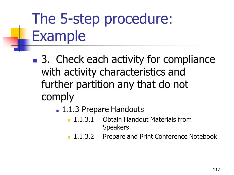 117 The 5-step procedure: Example 3.Check each activity for compliance with activity characteristics and further partition any that do not comply 1.1.3 Prepare Handouts 1.1.3.1Obtain Handout Materials from Speakers 1.1.3.2Prepare and Print Conference Notebook
