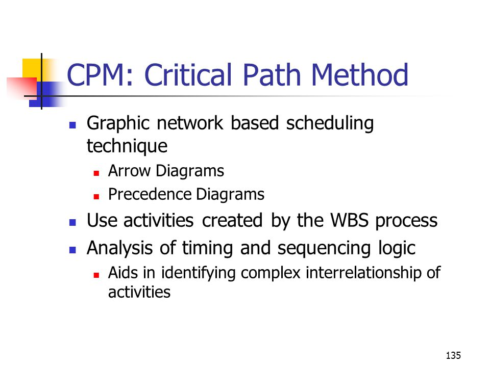 135 CPM: Critical Path Method Graphic network based scheduling technique Arrow Diagrams Precedence Diagrams Use activities created by the WBS process Analysis of timing and sequencing logic Aids in identifying complex interrelationship of activities