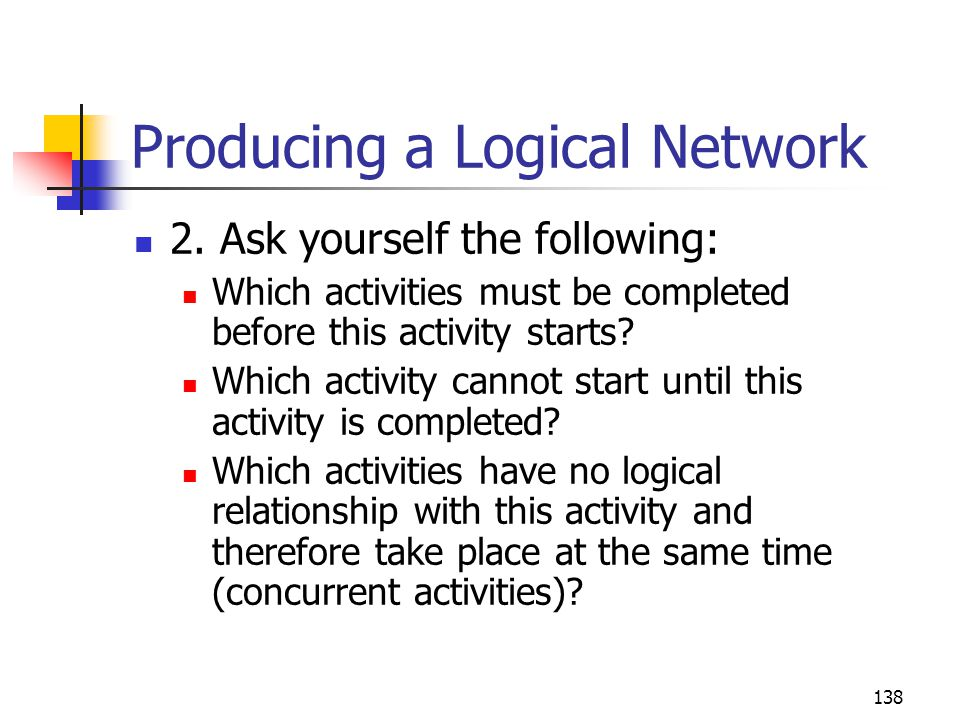 138 Producing a Logical Network 2.