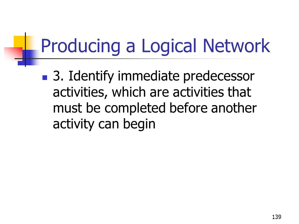 139 Producing a Logical Network 3.