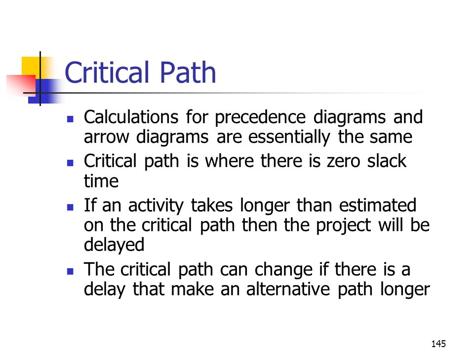145 Critical Path Calculations for precedence diagrams and arrow diagrams are essentially the same Critical path is where there is zero slack time If an activity takes longer than estimated on the critical path then the project will be delayed The critical path can change if there is a delay that make an alternative path longer