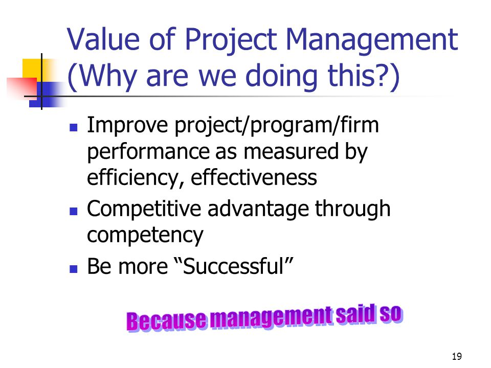 19 Value of Project Management (Why are we doing this?) Improve project/program/firm performance as measured by efficiency, effectiveness Competitive advantage through competency Be more Successful