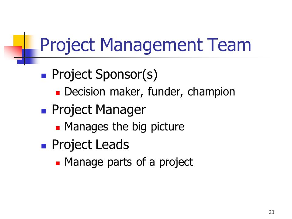 21 Project Management Team Project Sponsor(s) Decision maker, funder, champion Project Manager Manages the big picture Project Leads Manage parts of a project
