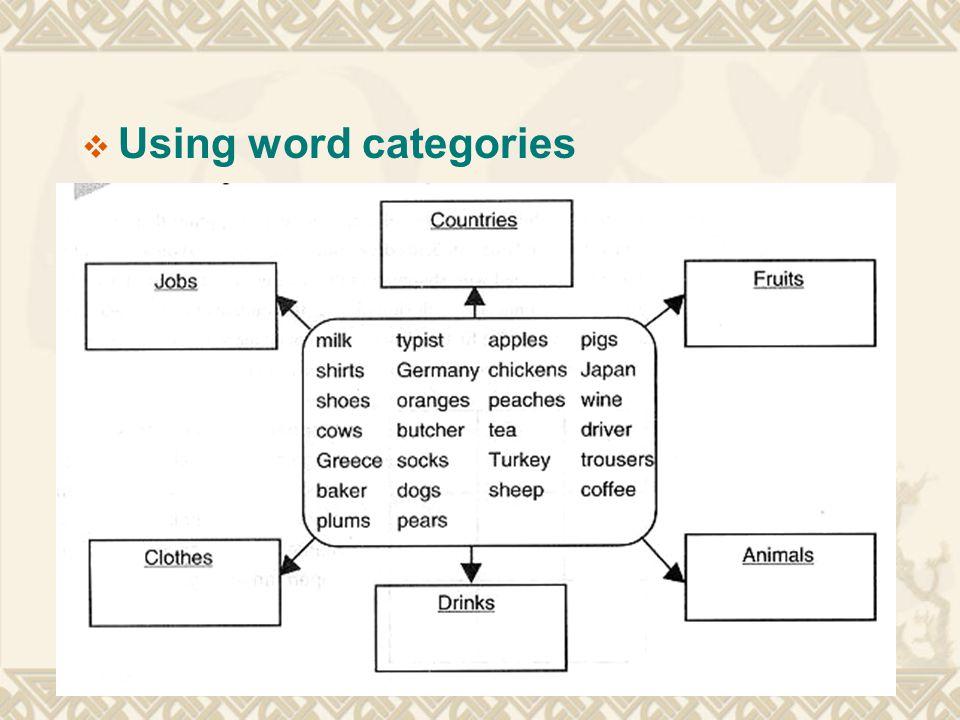  Using word categories